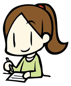 物を書く女の子の画像
