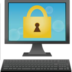 パソコンに鍵の画像