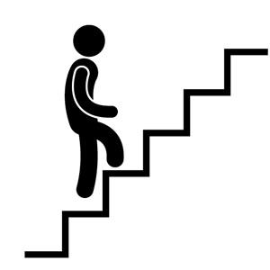 階段を登る図
